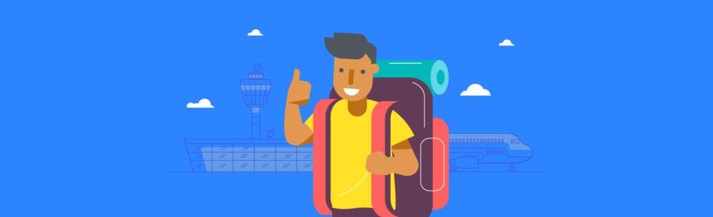 a cartoon looking boy depicted as tourist - logo for myaus app